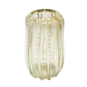 Vaso em Murano Incolor com Detalhes - 13x27x13cm