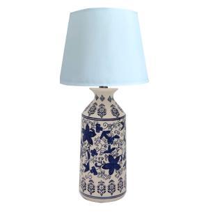 Abajur em Cerâmica com Pinturas em Azul - 78x40cm