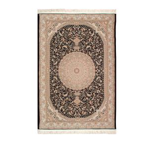 Tapete Iraniano Beluchi Preto com Detalhes Bege - 120x75cm