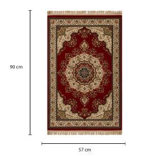 Tapete Persa Tabriz Mahi Vermelho e Bege - 57x90cm