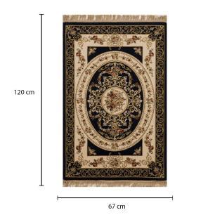 Tapete Persa Varamim Preto com Detalhes Floral - 67x120cm