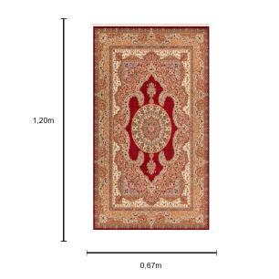 Tapete Persa Kerman Vermelho com Detalhes em Preto e Bege - 67x120cm
