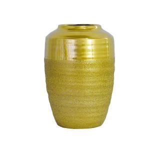 Vaso Rústico Decorativo em Cerâmica Dourada 35x22cm