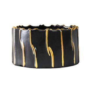 Cachepot Decorativo em Porcelana na Cor Preta com Detalhes em Dourado - 11X20cm