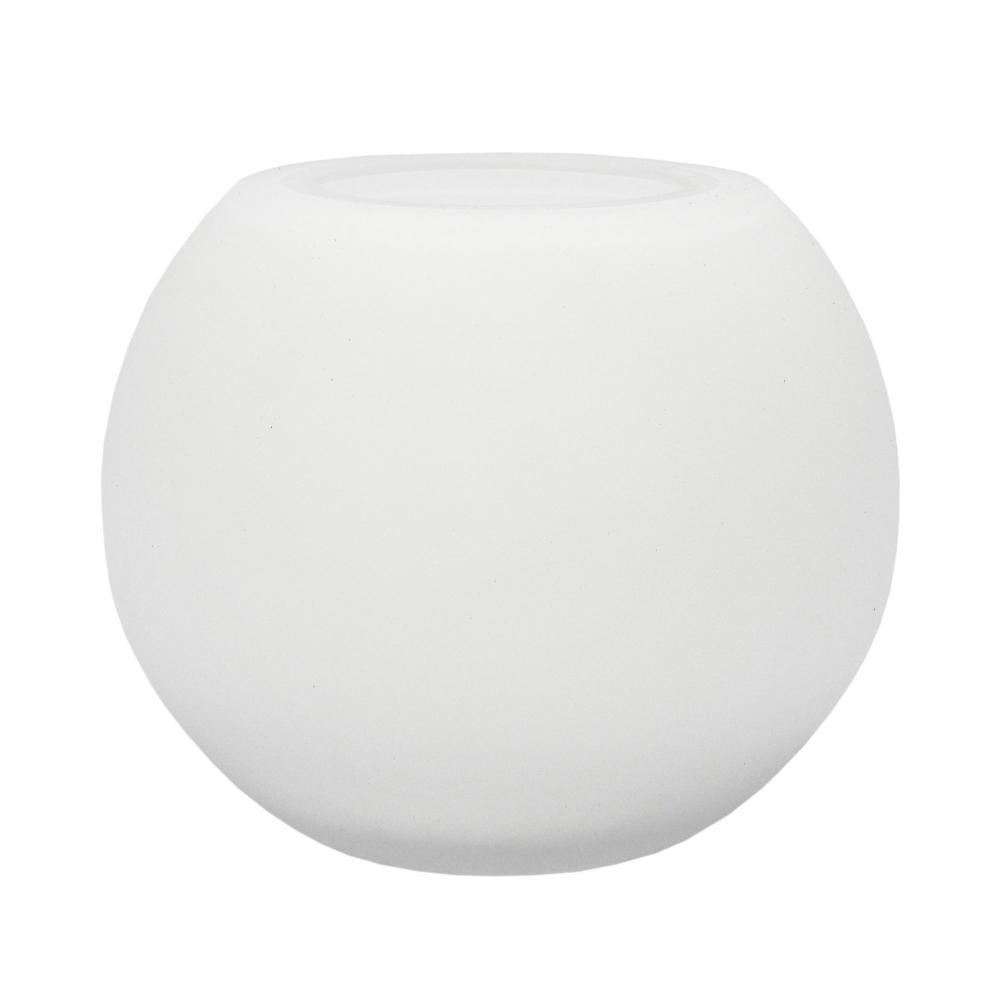 Vaso Decorativo Branco Fosco em Vidro - 15x18x18cm