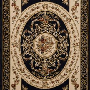 Tapete Persa Varamim Preto com Detalhes Floral - 57x90cm