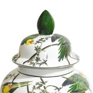 Potiche em Cerâmica Pássaros 43 cm x 23 cm