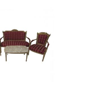 Kit Sofá Clássico Luis XV Dourado com Estofado Vermelho Abstrato com 2 Poltronas e Mesa de Centro