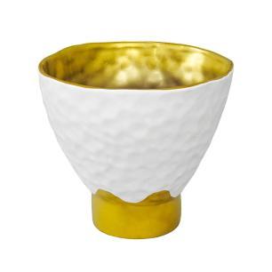 Vaso Decorativo em Porcelana na Cor Branca com Detalhes em Dourado - 26x29cm