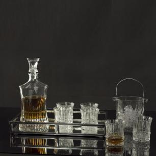 Conjunto 7 Peças 1 Garrafa de Whisky 550ml 6 Copos De Cristal 240ml