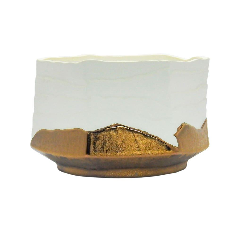 Vaso Decorativo Branco e Cobre em Cerâmica - 12x19x17cm
