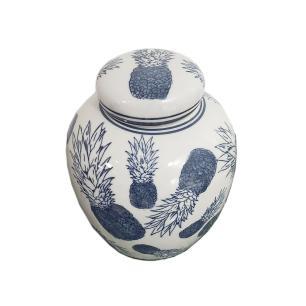 Potiche  de Porcelana Azul Claro Abacaxi - 17x18cm