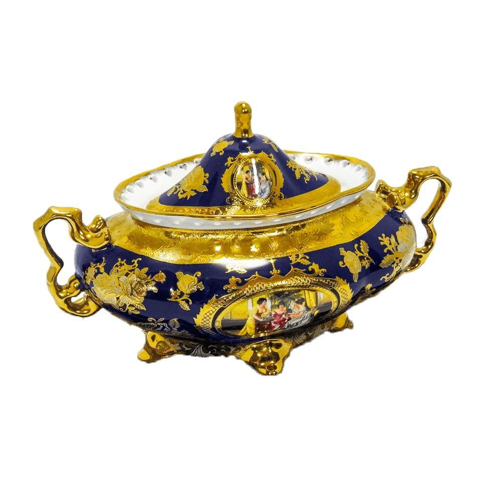 Sopeira com Bandeja em Porcelana Azul com Detalhes em Dourado - 36x20x21cm