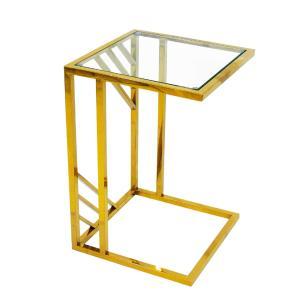 Mesa Auxiliar Dourada com Tampo de Vidro - 40x60x40cm