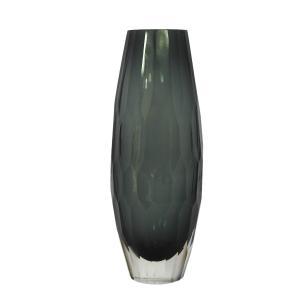 Vaso Decorativo Cinza em Vidro Facetado - 30x10x10cm