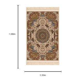 Tapete Persa com Detalhes em Bege - 133x190cm