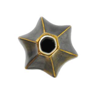 Vaso Decorativo em Porcelana Cinza e Dourado