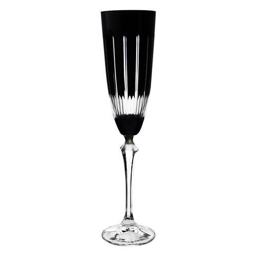 Taça para Champanhe Elizabeth Lapidada em Cristal cor Preta - 200ml A25cm