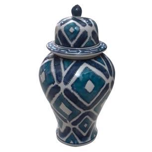 Potiche de Porcelana Geométrica Azul - 20x20x38cm