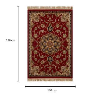 Tapete Persa Kashan Vermelho com Bege e Detalhes em Preto - 100x150cm