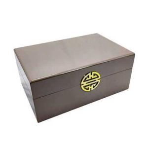 Caixa Decorativa Cinza com Dourado - 13x30x20cm