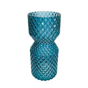Vaso Decorativo em Vidro na Cor Azul Escuro - 27x12cm