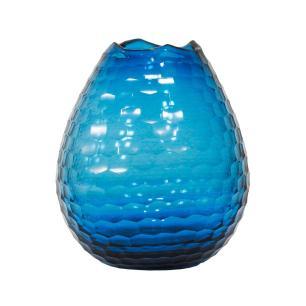 Vaso Decorativo em Vidro na Cor Azul - 25x20cm
