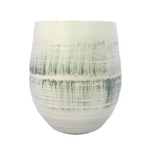 Vaso Decorativo em Cerâmica Branco com Verde - 45x33cm