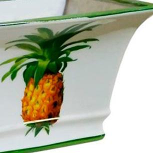 Vaso Decorativo em Cerâmica com Desenhos de Abacaxi - 17x26x18cm