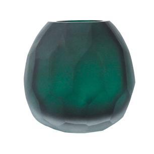 Vaso Decorativo Verde Fosco em Vidro Facetado - 16x15x13cm