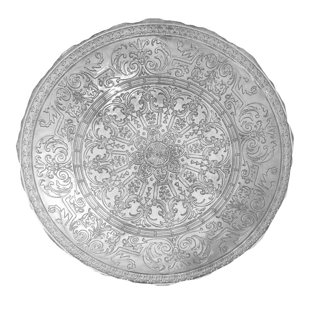 Centro de Mesa em Vidro Prata Estilo Art Nouveau - 33x33cm