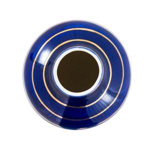 Vaso Decorativo Branco com Detalhes em Azul e Dourado - 41x14x14cm