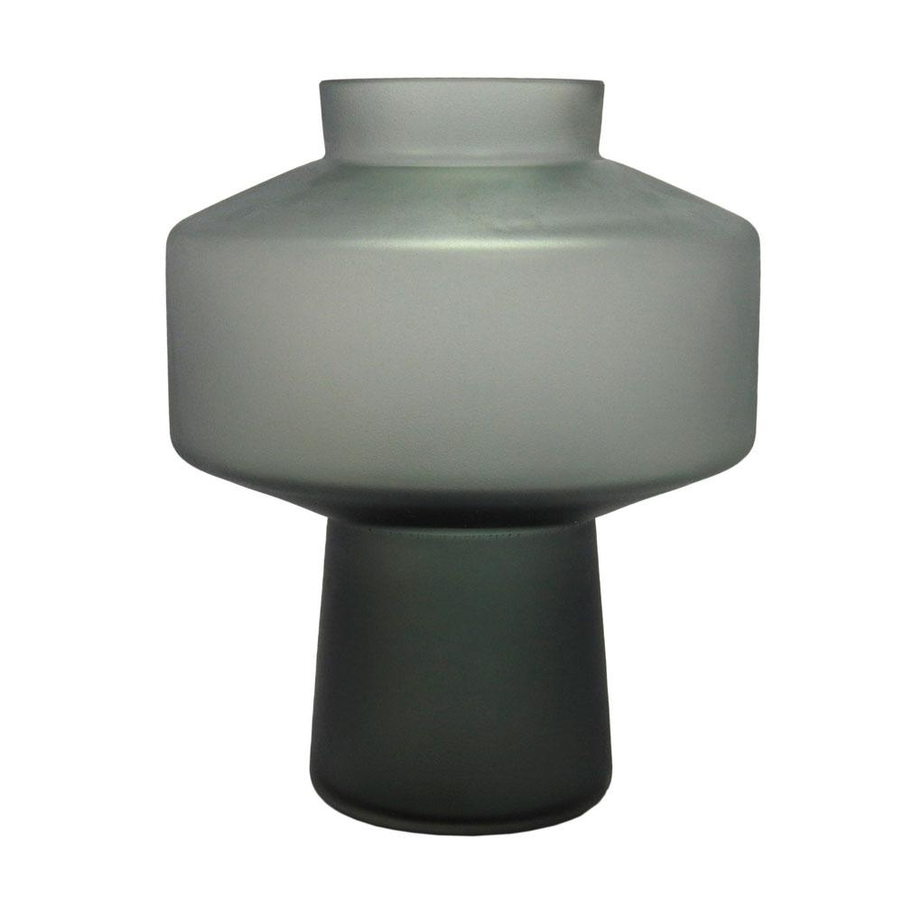 Vaso Decorativo em Vidro Cinza - 24x30cm