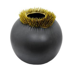 Vaso Decorativo Redondo em Cerâmica Cinza Chumbo  - 26x27cm