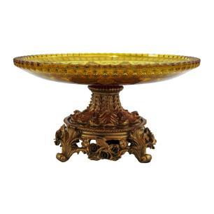 Centro de Mesa em Cristal Vinho e Dourado - 31x28x21cm