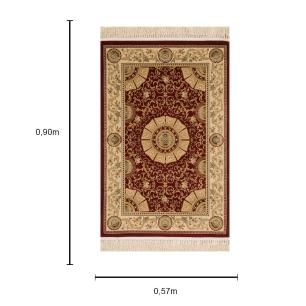 Tapete Persa Qom Vermelho com Detalhes Bege - 57x90cm