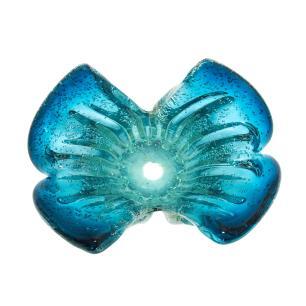 Vaso em Murano Azul com Detalhes - 19x13x13cm