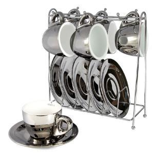 Jogo de Café 12 Peças cor Prata e Branco com Rack - 80ml