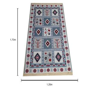 Tapete Turco Kilim Azul com Detalhes em Vermelho - 170x120cm
