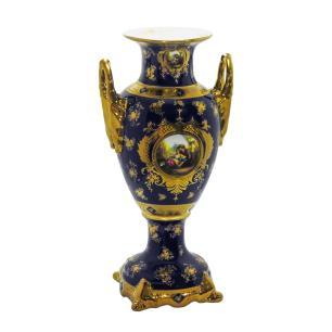 Ânfora em Porcelana Azul Detalhes em Ouro - 61x31x26cm