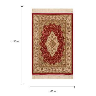 Tapete Persa Vermelho com Detalhes em Bege - 100x150cm