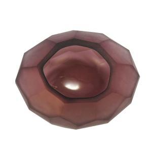 Vaso Decorativo Roxo Fosco em Vidro Facetado - 16x15x13cm