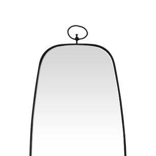 Espelho Retangular com Moldura em Metal Preto - 82x34cm