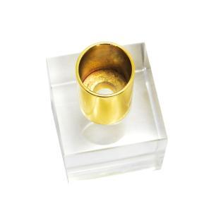 Castiçal Decorativo em Cristal Transparente com Detalhe em Metal Dourado - 10x05cm