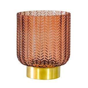 Castiçal Decorativo Produzido em Vidro na Cor Salmão - 14x11cm
