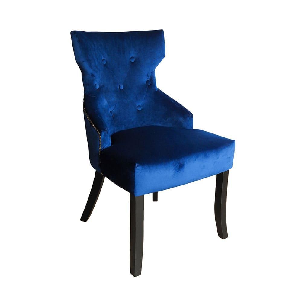 Cadeira em Madeira com Estofado Azul - 93x53x60cm