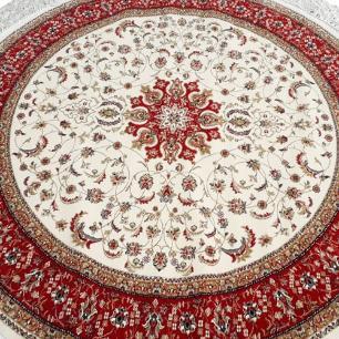 Tapete Persa Redondo Vermelho com Detalhes Bege - 200x200cm