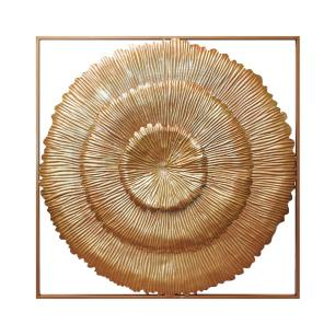 Quadro Decorativo Redondo em Metal Dourado - 80x80cm