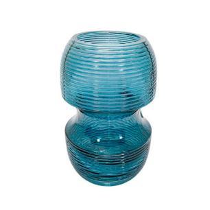 Vaso Decorativo em  Vidro na Cor Azul Escuro - 18x11cm
