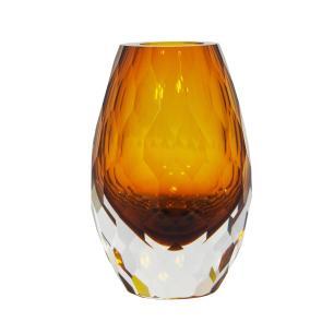 Vaso Decorativo Âmbar em Vidro Facetado - 15x9x9cm